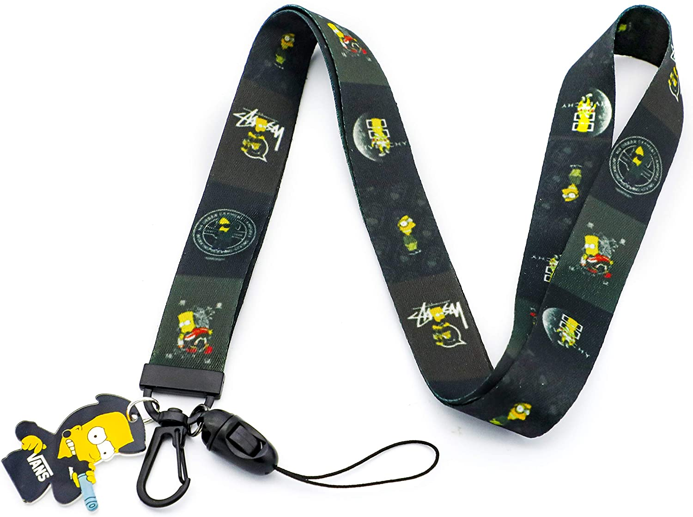 Simpsons Lanyard Keychain ID Badge Holder(Black)