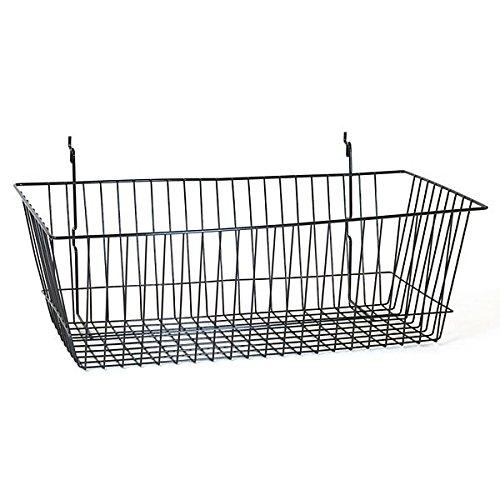 Basket fits Slat,Grid,Pegboard in Black 24 W x 12 D x 8 H Inches - Box of 8