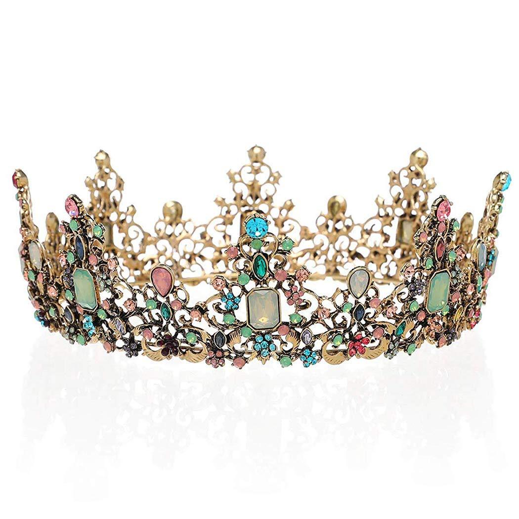 Brishow Baroque Bride Crowns and Tiaras Colorful Rhinestones Bridal Queen Tiara Crystal Headpieces for Women and Girls
