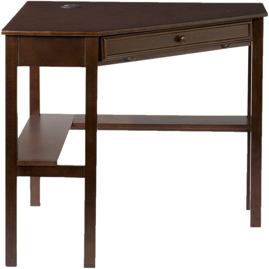 SEI Furniture Space Saving Corner Computer Desk - Writing Desk w/Sliding Keyboard - Expresso Finish