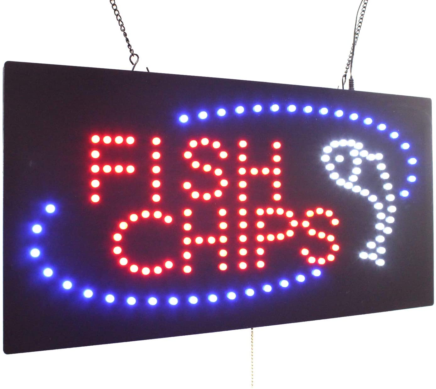 Fish and Chips Sign, TOPKING Signage, LED Neon Open, Store, Window, Shop, Business, Display, Grand Opening Gift