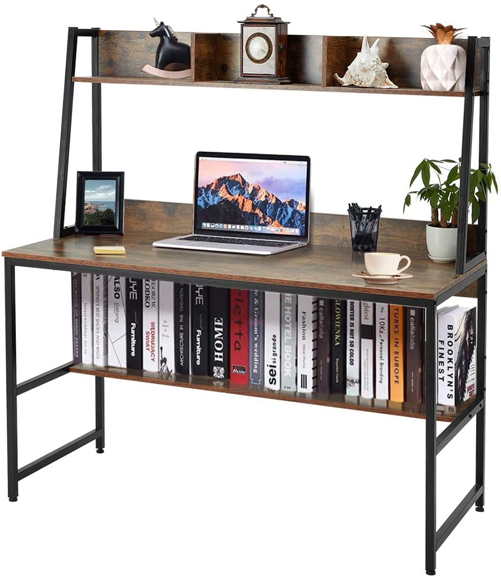 EROMMY 47 Inch Computer Desk with Hutch and Bookshelf,Space-Saving Writing Study Desk with Storage Shelves,Home Office Desk Study Workstation for Home,Office, Rustic Brown