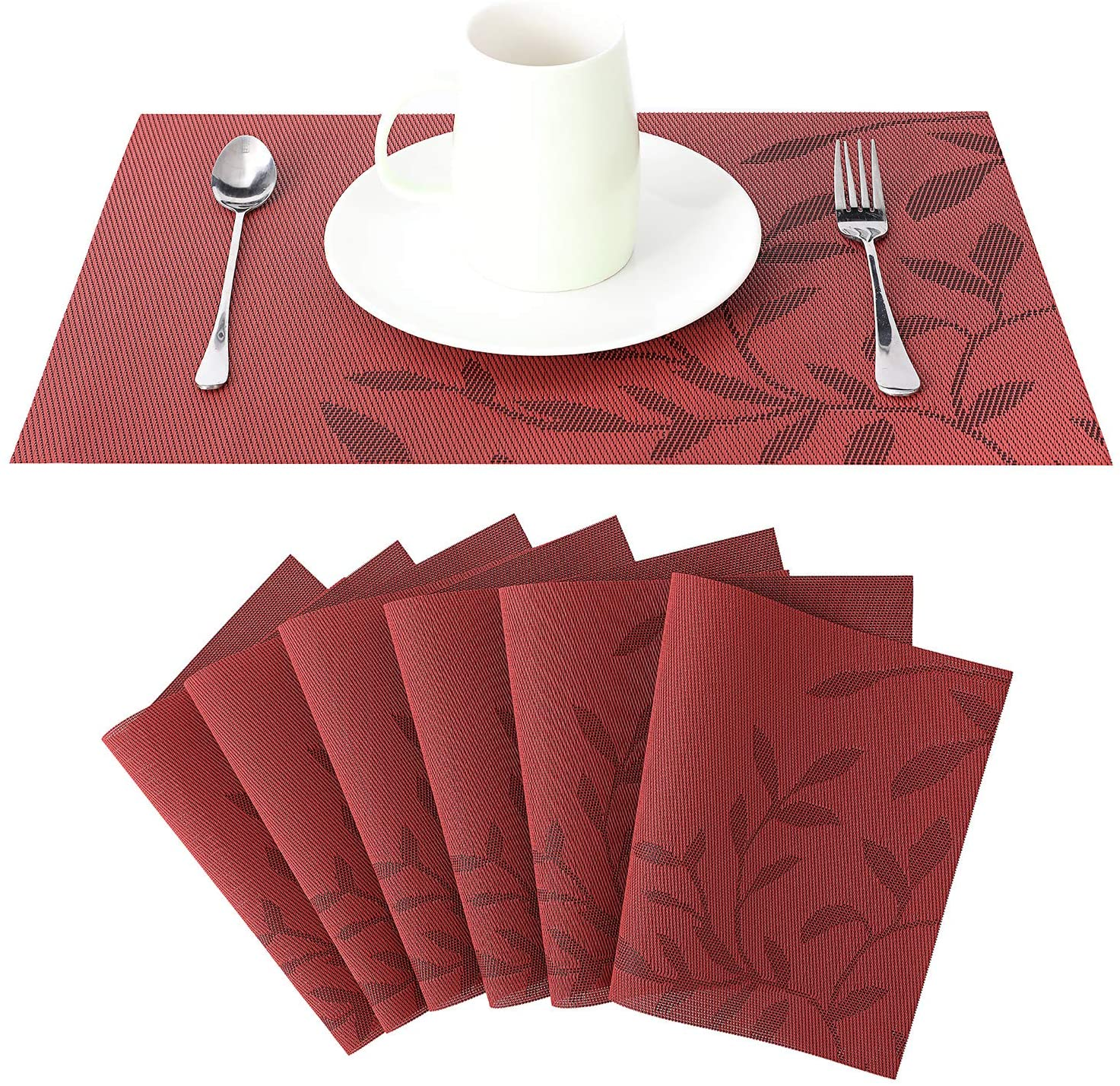 placemats for Dining Table bghnifs, Washable Table Mats Set of 6 Non-Slip Heat Resistant Kitchen Table Mats Easy to Clean (T-red)