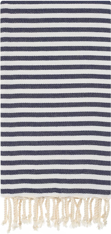 Cacala Zebra Series - Turkish Bath Towels - Traditional Peshtemal Design for Bathrooms, Beach, Sauna - 100% Natural Cotton, Ultra-Soft, Fast-Drying, Dark Blue