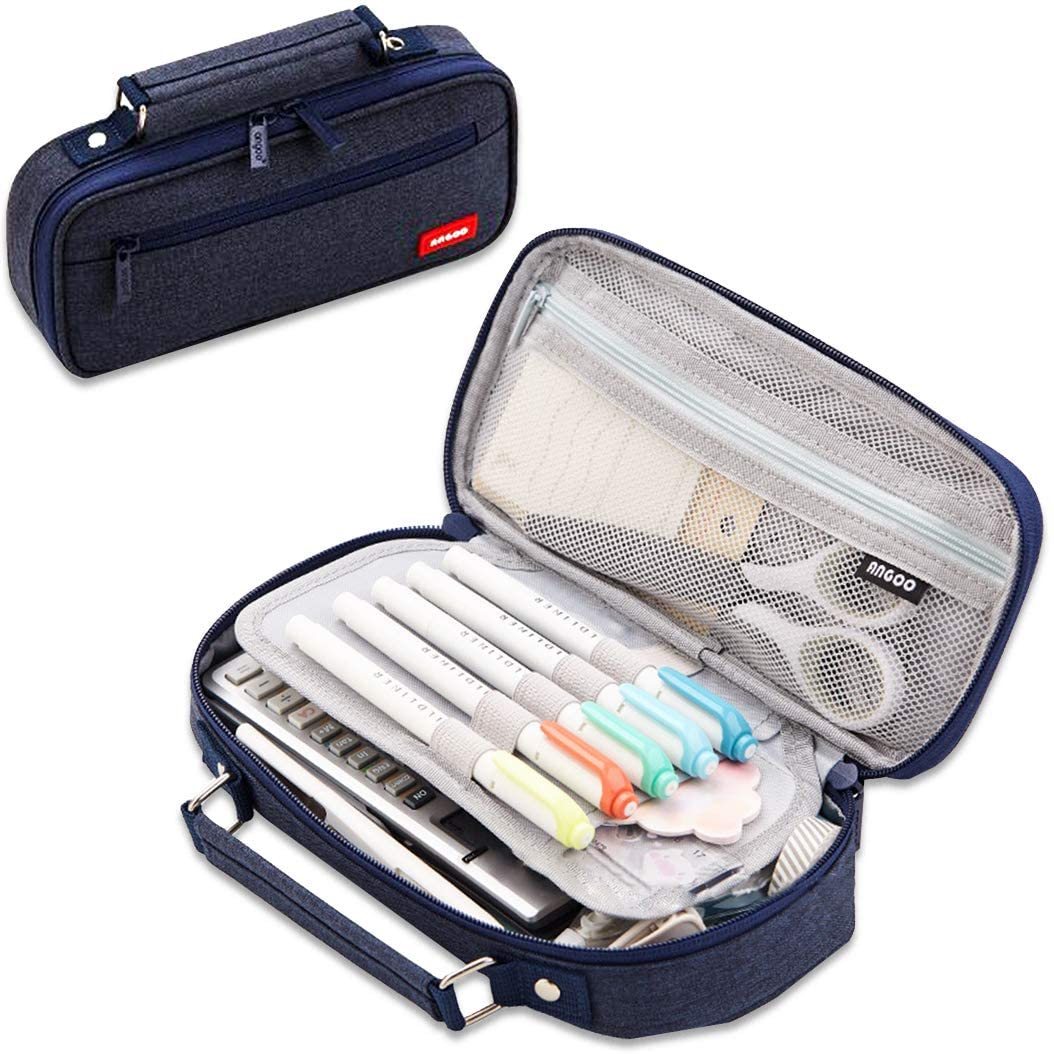 iSuperb Portable Pencil Case Washable Polyester Big Large Capacity Pen Organizer Storage with Compartments Zipper Stationery Pouch Cosmetic Bag (Navy Blue)
