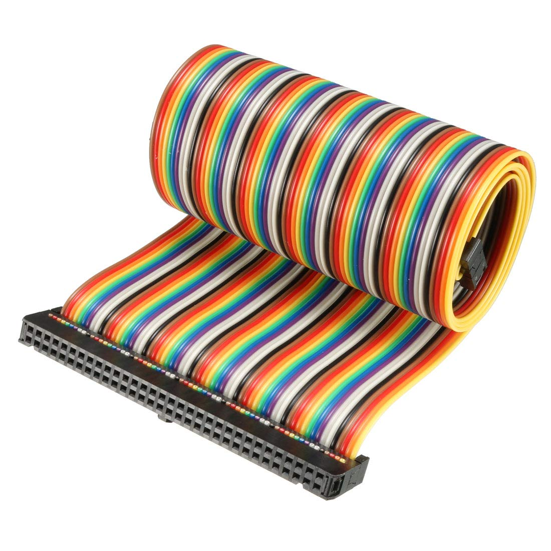 uxcell IDC Rainbow Wire Flat Ribbon Cable 64 Pins 48cm Length 2.54mm Pitch Type-C
