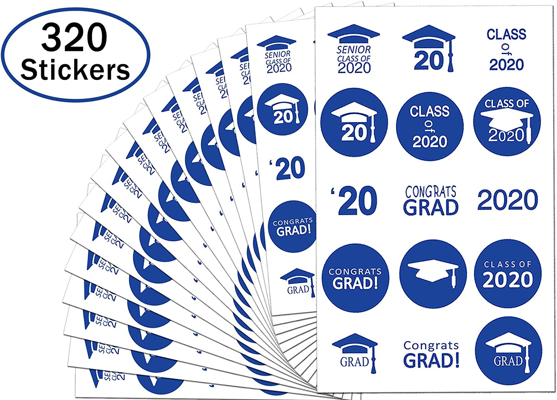 "0.75"" Class of 2020 Graduation Stickers Party Favor Labels - 300 Graduation Party Hershey's Kisses Stickers Candy Wrappers (Blue, 3/4 Graduation Sticker)"