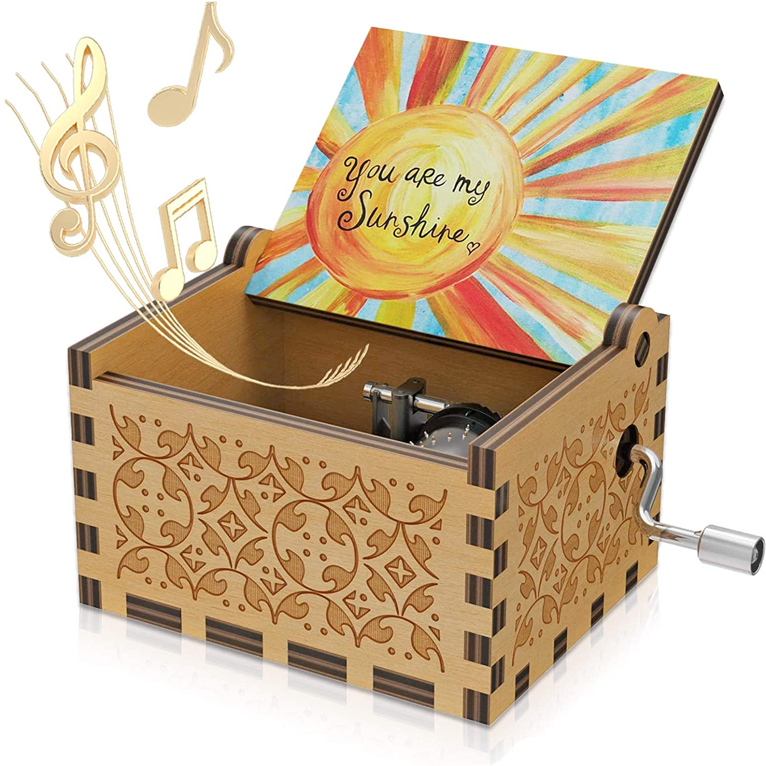 Multicolor U R My Sunshine Tune Wood Music Boxes Vintage Laser Engraved Vintage Hand Crank Color Musical Box Wooden Musical Box Gifts for Daughter Son Kids Wife Girlfriend on Birthday/Christmas