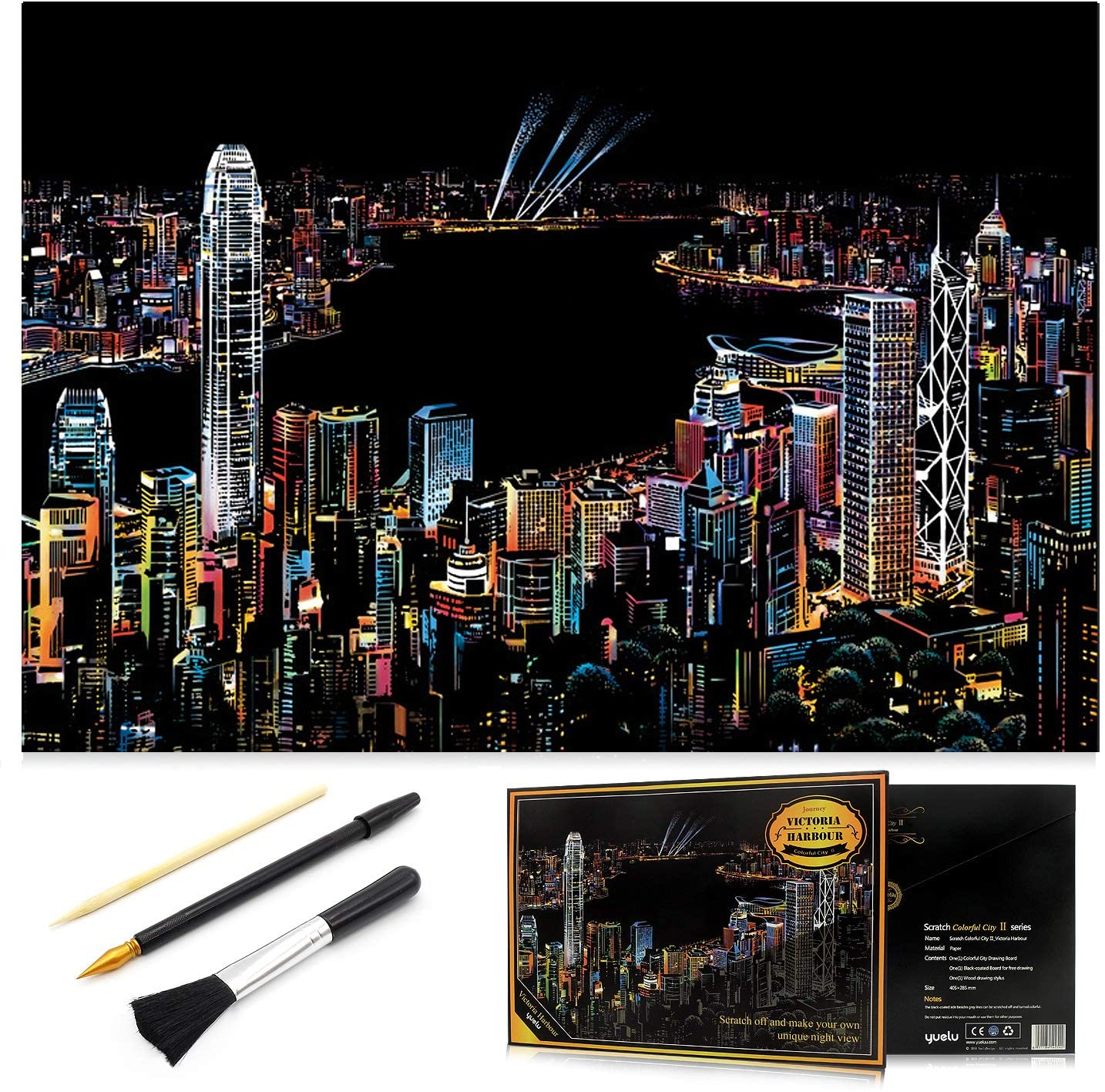 Scratch Painting Kits for Adults & Kids, Craft Art Set, Rainbow Scratch Art Painting Paper, Sketch Pad DIY Night View Scratchboard, 16 x 11.2 Creative Gift - with 3 Tools ( Victoria harbour )
