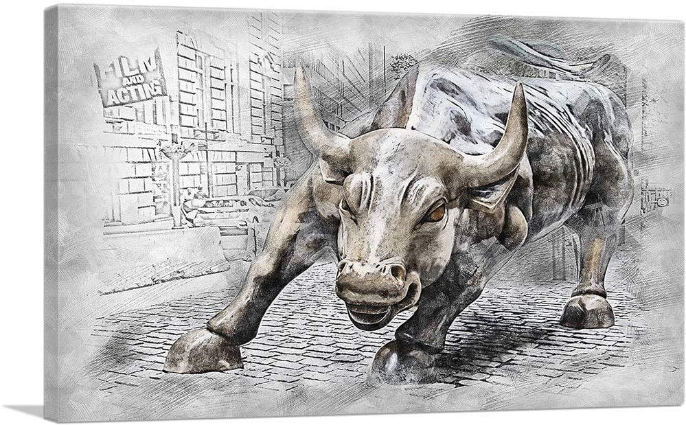 ARTCANVAS Charging Bull Statue Wall Street New York Stylized Canvas Art Print - 40