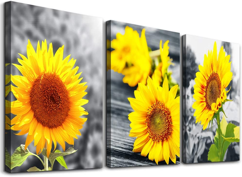 Wall decorations for living room Canvas Wall Art for bedroom kitchen wall decor Canvas Art Yellow sunflower flowers paintings bathroom Home Decoration 3 Piece Ready to Hang Pictures Wall Artworks