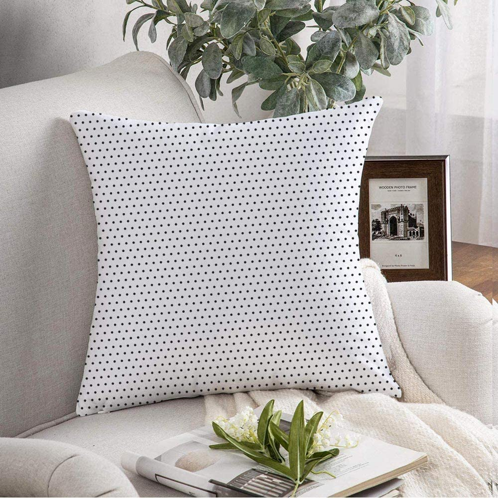 Starobkn Decorative Pillow Cover Cushion Cover Elegant Surface White Classic Pattern Panel Carbon Abstract Style Black Design Grid Point Repeat Soft Square Pillowcase for Sofa Living Room 18x18 Inch