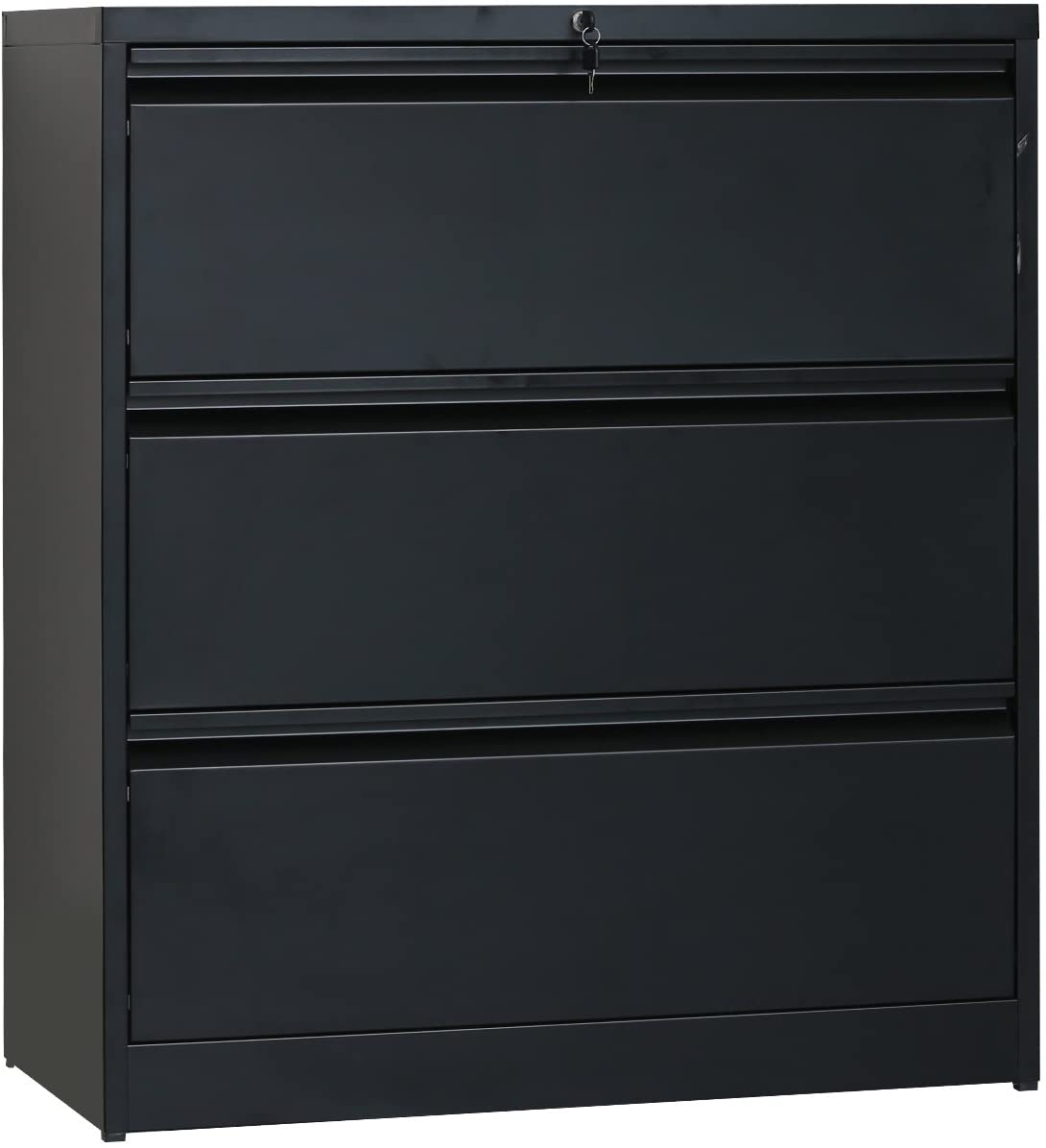 YSKWA Heavy-Duty Lateral File Cabinet (Black, 3-Drawers:35.4W17.7D40.3H)