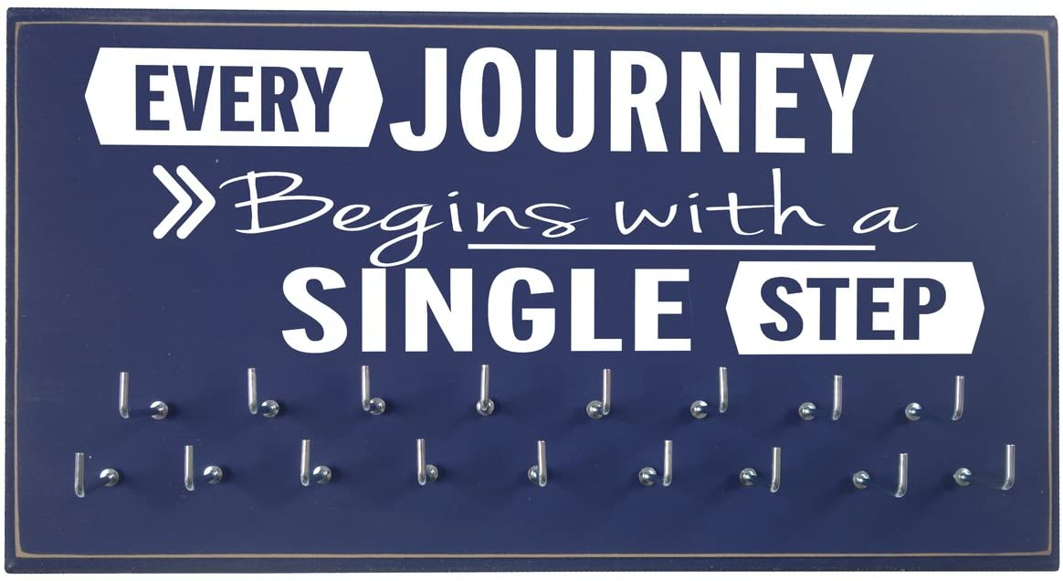 Running On The Wall-Gifts for Runners-Marathon Medal Display-Medal Rack for Running- Awards Hanger - Wall Mounted Holder-Every Journey Begins with A Single Step
