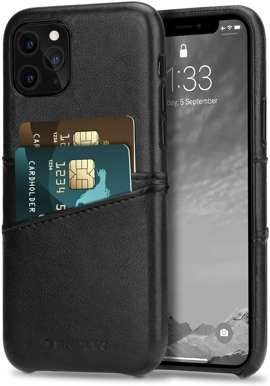 TENDLIN Compatible with iPhone 11 Pro Max Case Wallet Design Premium Leather Case with 2 Card Holder Slots (Black)