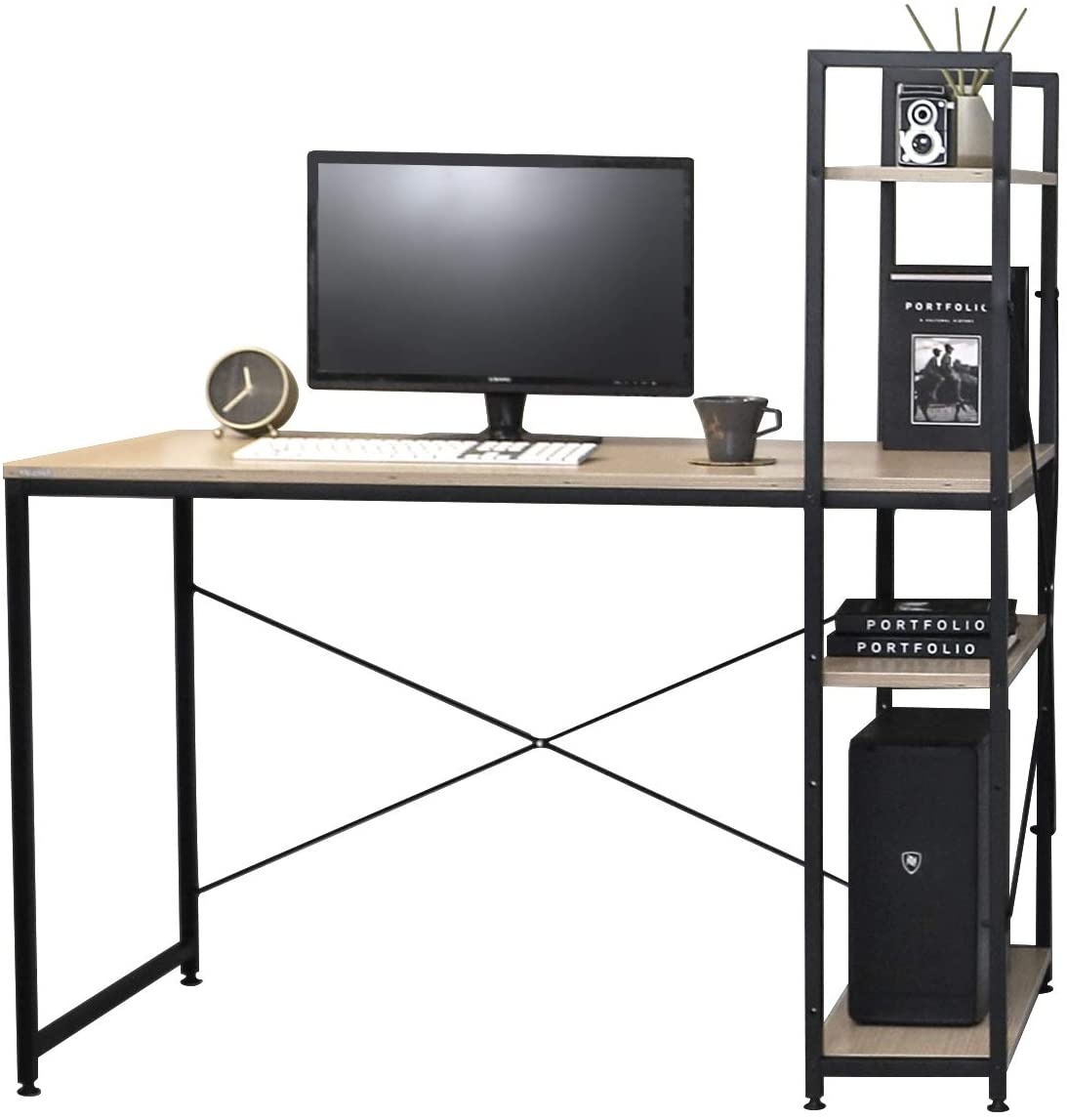 """SOFSYS Alpha Series 47.2"""" Computer Desk with Bookshelf Storage, All-in-One Workstation with Long Table Working Surface, Multi-Tiered Shelving for Home Office or Gaming, Oak/Black"""