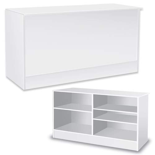 70 Inches Assembled Wood Service Counter in White