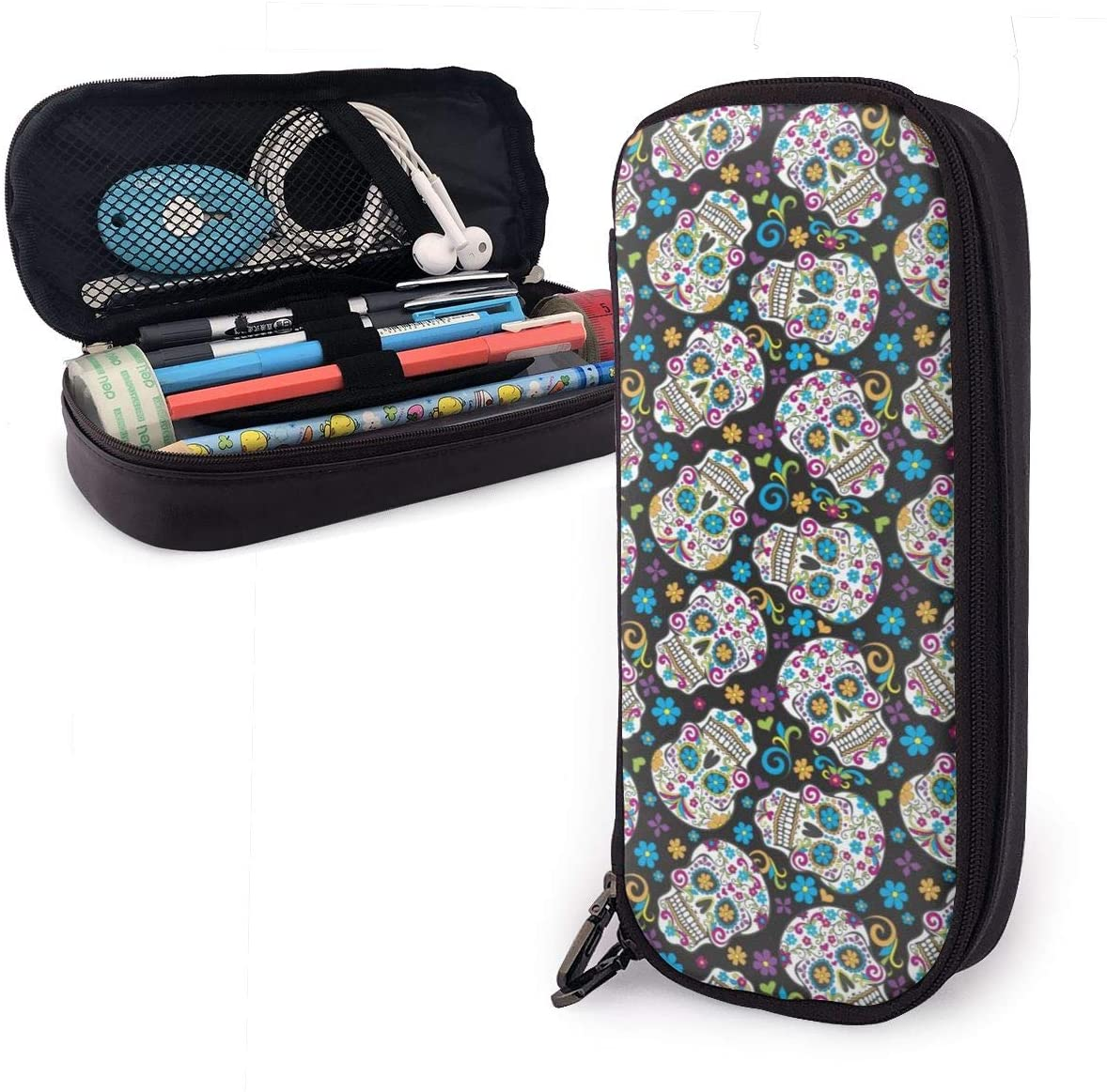 XUJ YOGA Waterproof Leather Sugar Skulls Pencil Case Pen Bag Makeup Box Cosmetic Pouch High Capacity Stationery Holder Storage Organizer with Zipper for School Office Travel