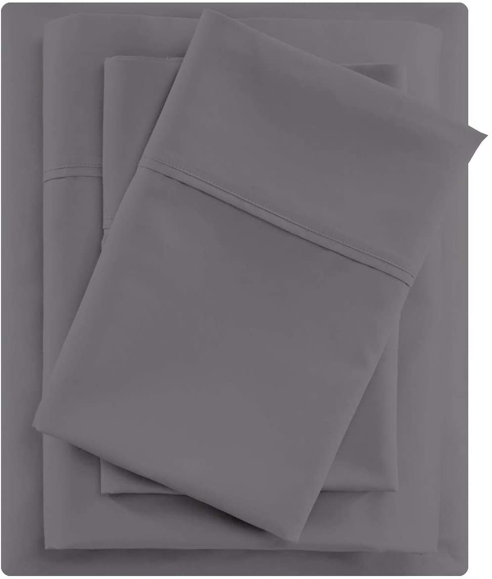 Queen Size Sheet Set - Dark Grey 4 Piece Set - Hotel Luxury Bed Sheets - Deep Pockets - Easy Fit - Breathable & Cooling - 600TC Sheet Queen Sheets - 4 PC Comfy Cotton Bed Sheet