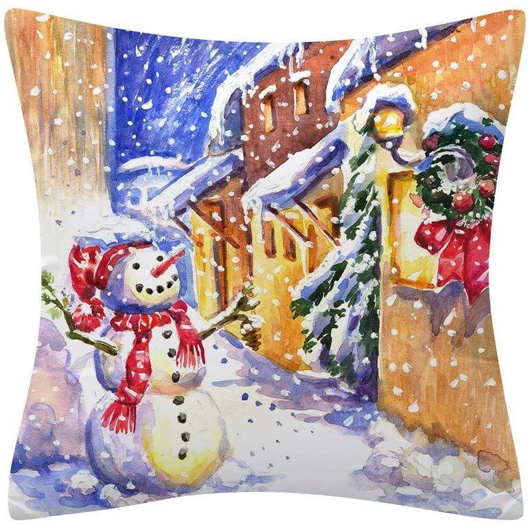 Ounabing 18X18 Inch Christmas Fall Throw Pillow Covers Cushion Case LED Lights for Home Decor Sofa, Couch, Bed and Car,Living Room,Breathable and Super Soft Pillowcase