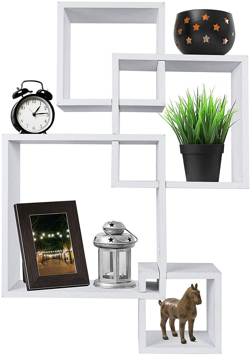 Set of 4 Intersecting Decorative Color Wall Shelf White,Modern Simple and Practical Designs,it is A Perfect Choice for Decorating Your Home