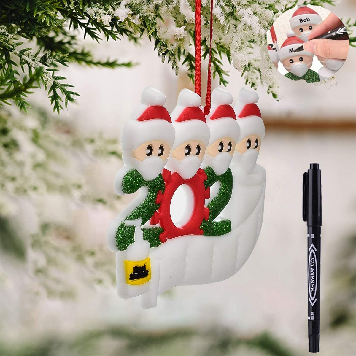 Kunray Christmas Ornament Kit with Mask, 2020 Quarantine Survivor Family Creative Gift for Family,Personalized Name Christmas Decorations Ornament Kit, w/Pen (Family, Family-4)