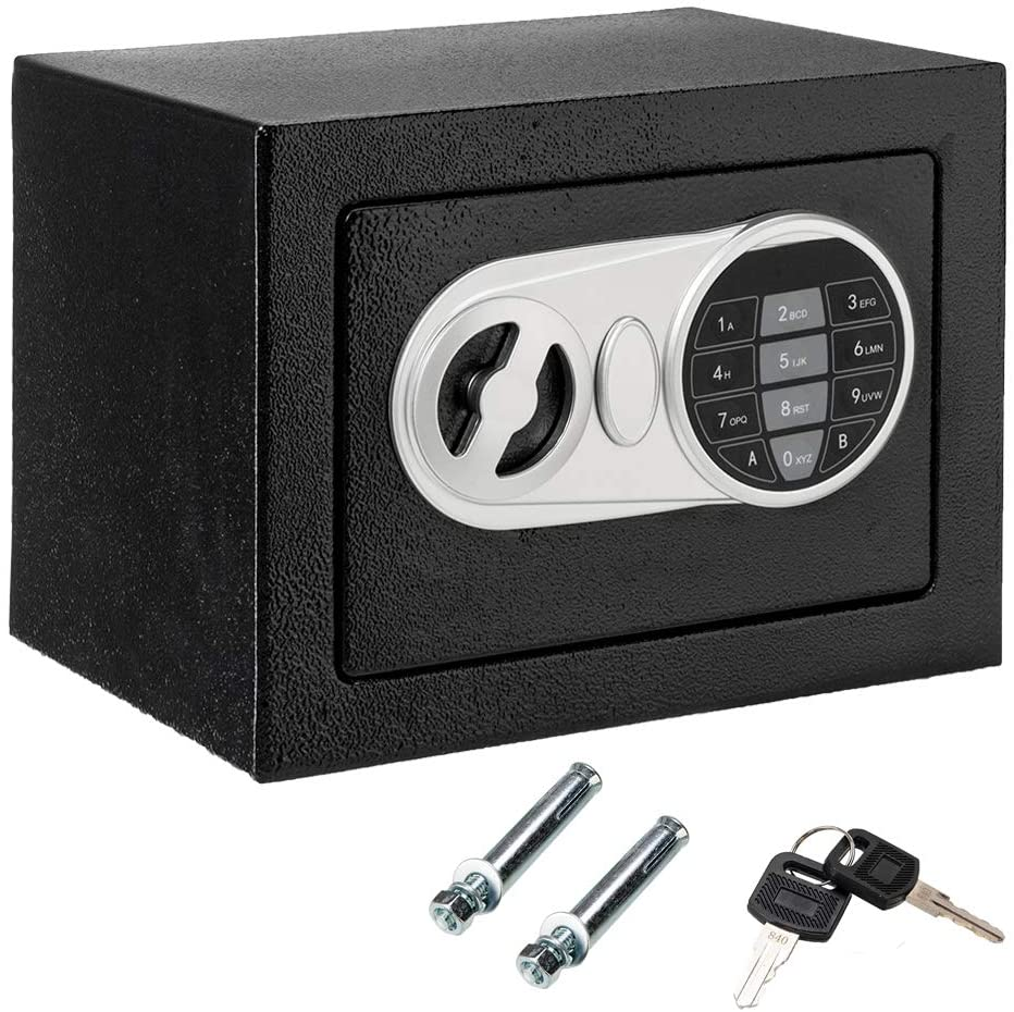 Safe Box Safety Boxes Small Home Office Security Safe Box with Electronic Digital Keypad Lock Money Box Lock Boxes Wall Cabinet Safe Box for Home Office Hotel with 2 Keys, Black (9.06 x 6.69 x 6.69)