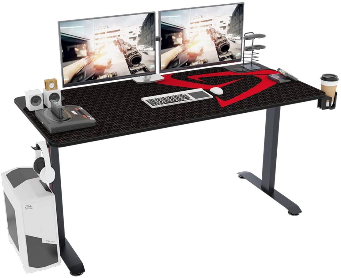 SogesGame Ergonomic Gaming Desk Workstation T-Shaped Office PC Computer Sturdy Table,TN-I60-BK-S8-US