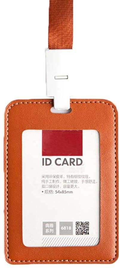 Leather Vertical Style ID Card Badge Holder with Neck Lanyard Strap 2PCS - 14