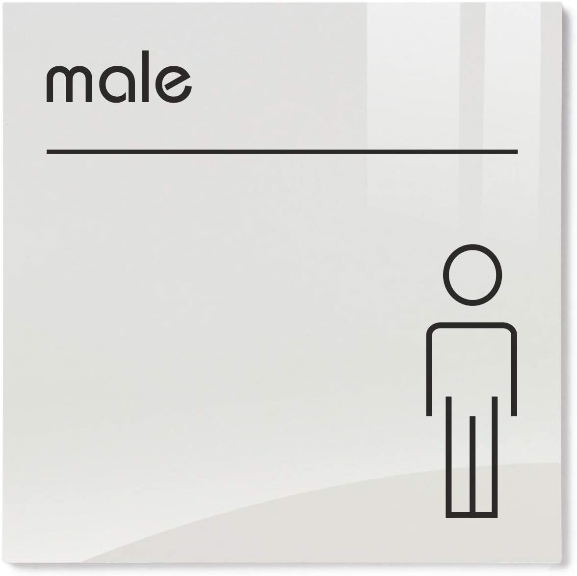 Viro Opal Acrylic Male Restroom Toilet Sign - 200 x 200mm / 8