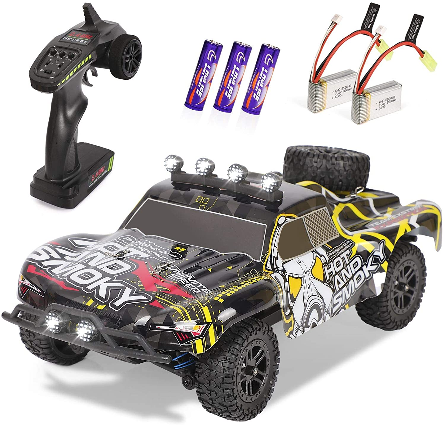 RC Cars, 1/18 Scale High-Speed Remote Car for Adults Kids,30+ kmh 4WD 2.4GHz Off-Road Monster RC Truck,All Terrain Electric Vehicle Toy Boy Gift with 2 Batteries for 30+ Min Play