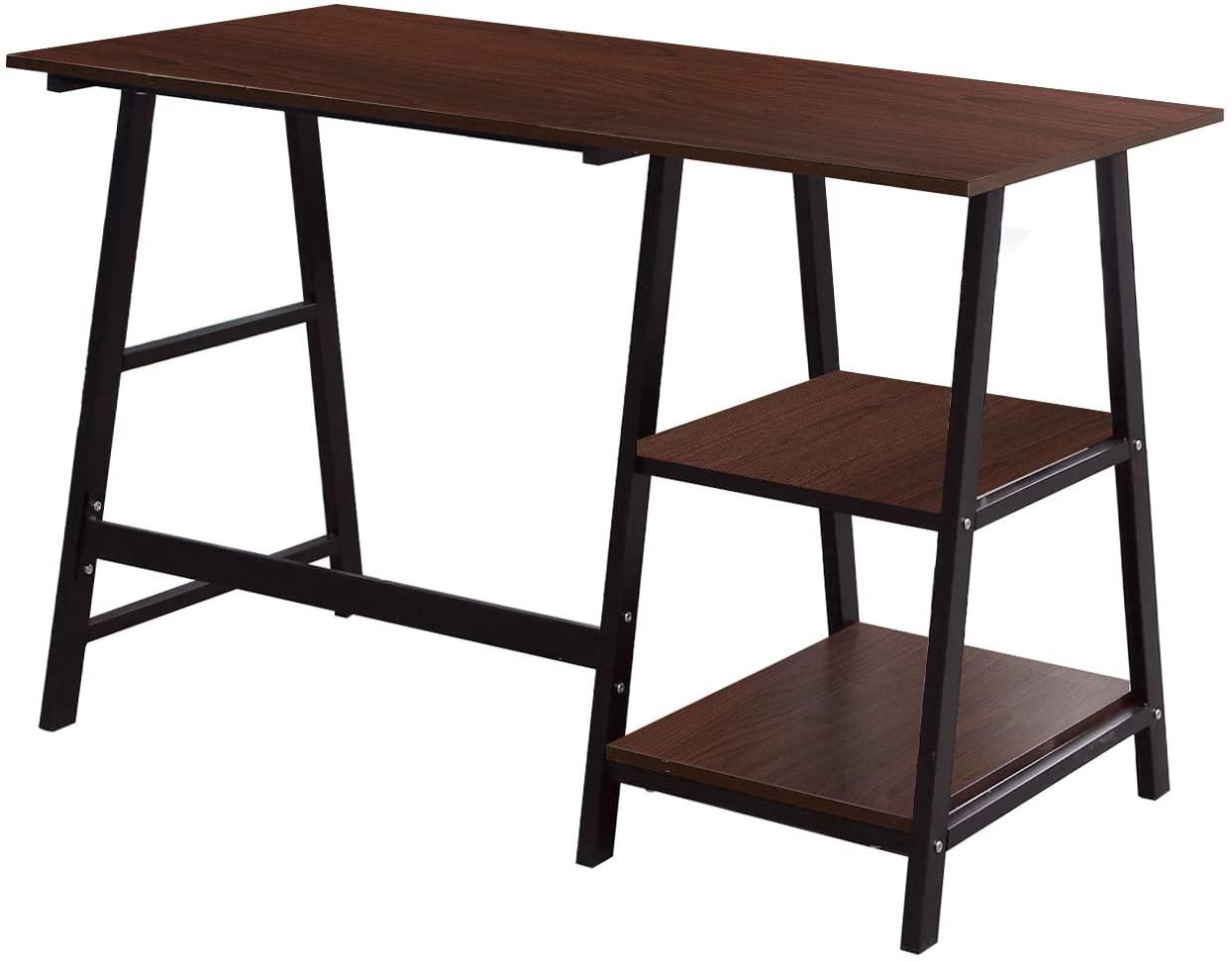 Soges 55 Inch Computer Desk Trestle Desk Writing Home Office Desk Hutch Workstation with Shelf,Walnut & Black CS-Tplus-140WB