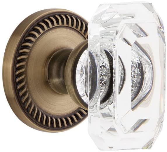 Grandeur 827920 Newport Rosette Passage with Baguette Crystal Knob in Vintage Brass, 2.75