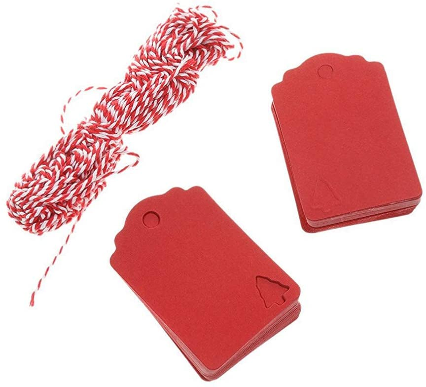 BESPORTBLE 100 PCS Kraft Paper Price Tags Labels Tags DIY Hanging Tag with String for Christmas Wedding Birthday (Red)