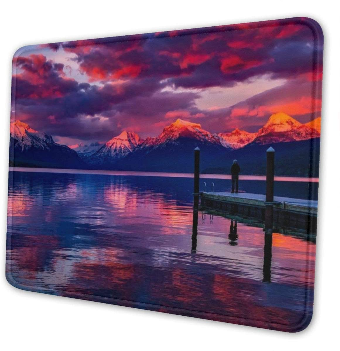 Mouse Pad, Lake McDonald Glacier National Park Red Sky Mouse Mat, Waterproof Office Mouse Pad