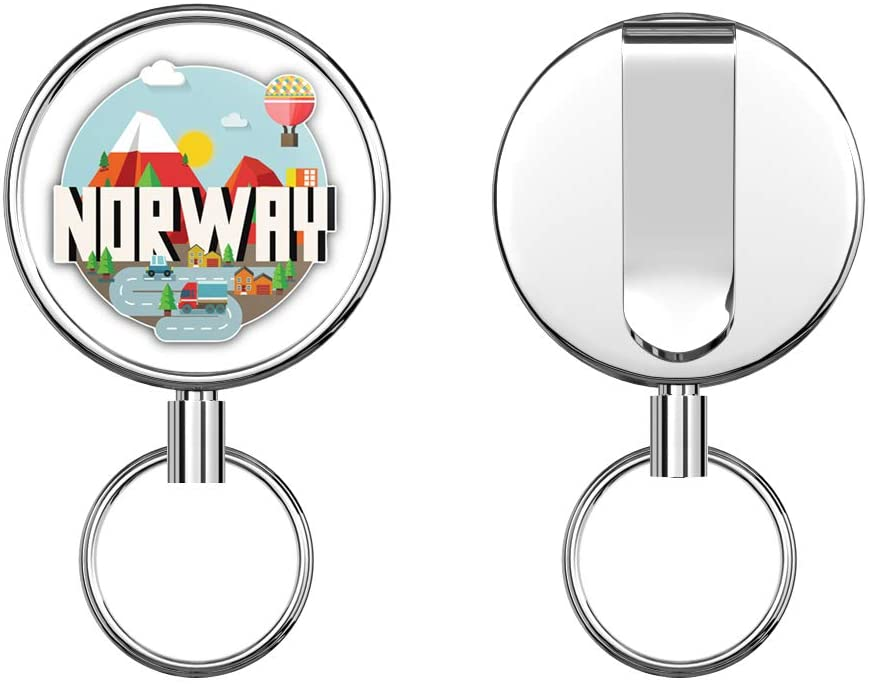 Norway Vintage Label Round ID Badge Key Card Tag Holder Badge Retractable Metal Reel Badge and Key Holder with Belt Clip