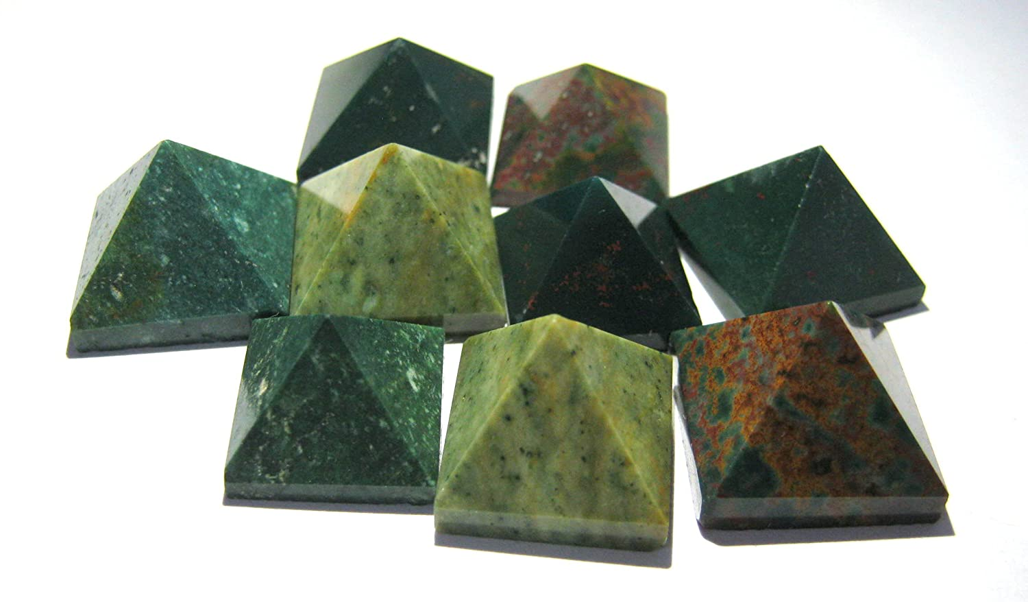 Crystal Miracle Excellent Set of Nine Bloodstone Loose Mini Pyramids Crystal Healing Men Women Gift Reiki FENG Shui Positive Energy VAASTU Bagua Health Wealth Gemstone Meditation Aura Peace Mind