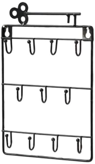 LIOOBO Iron Key Hook Wall Mount Storage Key Holder 11 Hooks Hanging Key Rack Entryway Key Hanger Decorative Small Things Hook Hanger for Home