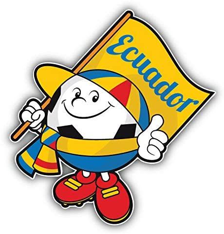 KW Vinyl Magnet Cartoon Ecuador Flag Soccer Ball Mascot Truck Car Magnet Bumper Sticker Magnetic 5