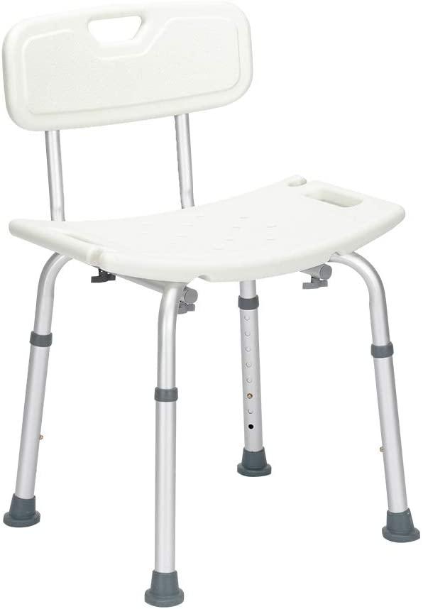 YYAO Shower Chair Bath Seat Spa Bathtub Chair,Height Adjustable Aluminum Frame Non-Slip Bath Seat Bathroom Chair w/Anti-Slip Rubber Feet,White
