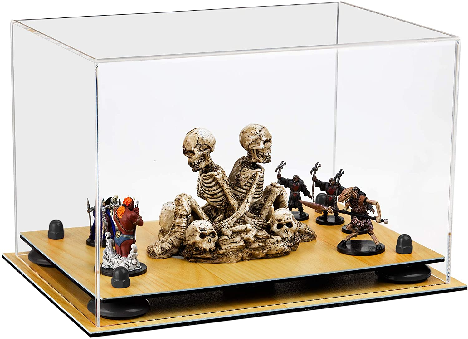 Better Display Cases Versatile Clear Acrylic Display Case - Medium Rectangle Box with Black Risers and Wood Base 12 x 8.25 x 8 (A004-BR)