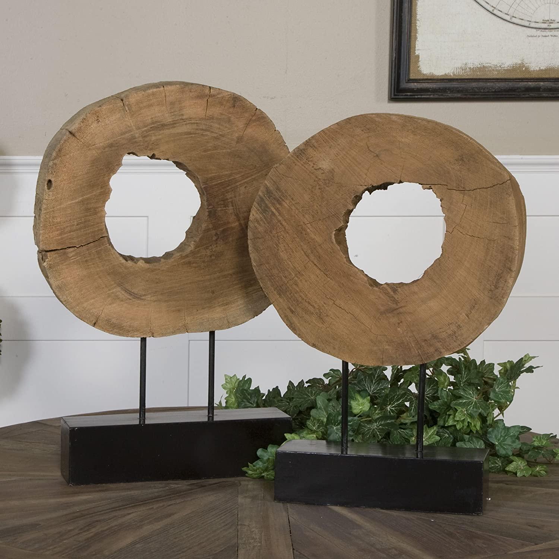 Natural Mango Wood Sculptures (Set of 2) Iron Metal