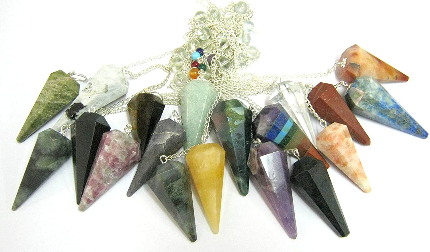 CRYSTALMIRACLE Exclusive Set of Fifteen Gemstones Cone Pendulums Crystal Healing Reiki DOWSING FENG Shui Gift Metaphysical Powerful Meditation Psychic Energy Success Prosperity Health Wealth