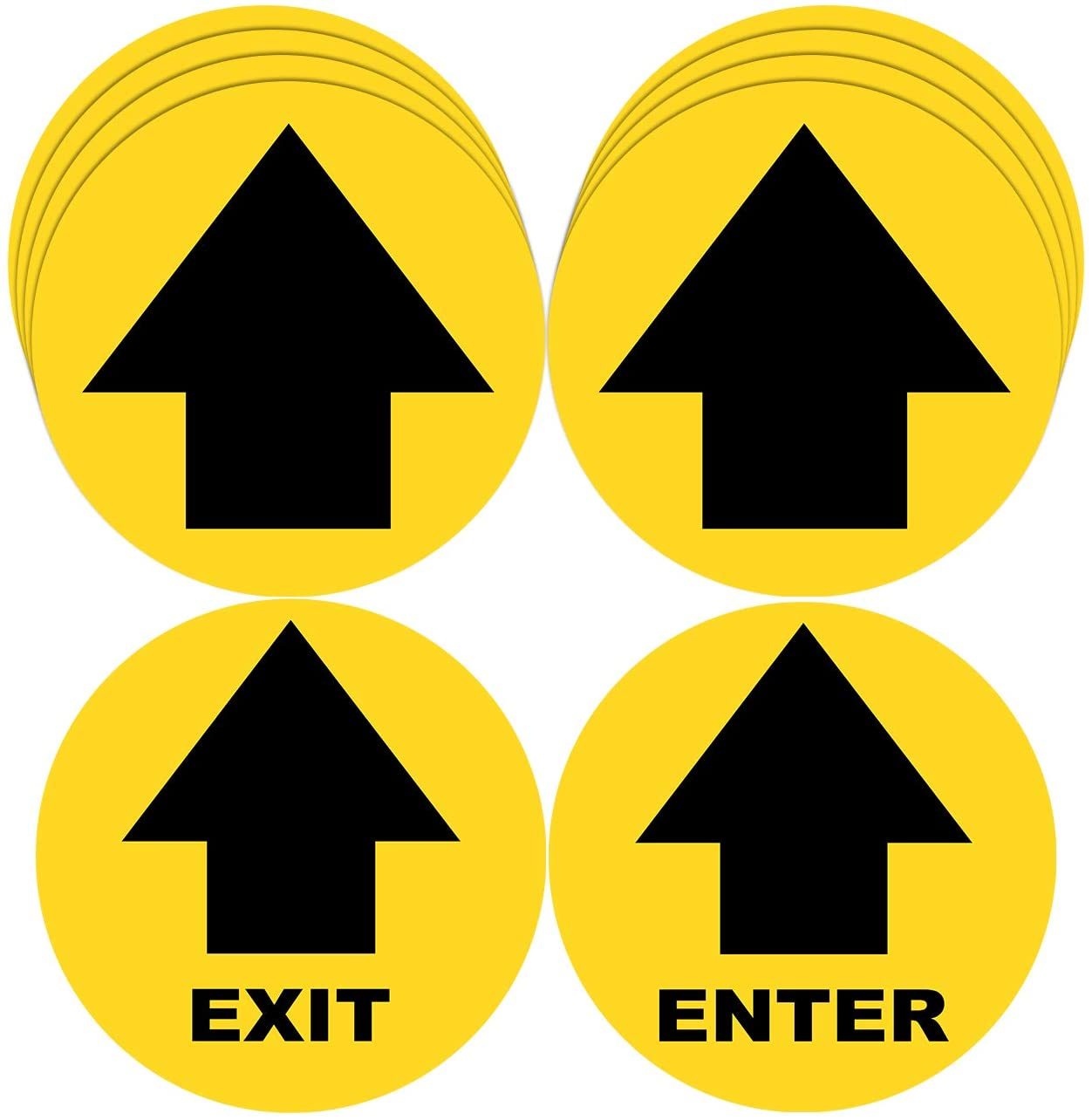 10 Pack Enter Exit Arrow Social Distancing Floor 12 Inches Vinyl Removable Decals Stickers Sign Waterproof Adhesive Anti-Slip Anti-Tear No Residual Circle Sticker