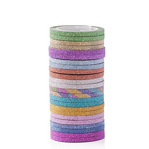 12 Colors Skinny Glitter Paper Washi Tape Set of 24