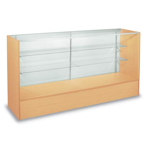 Maple Full Vision Showcase 60 Inch with Adjustable Glass Shelves