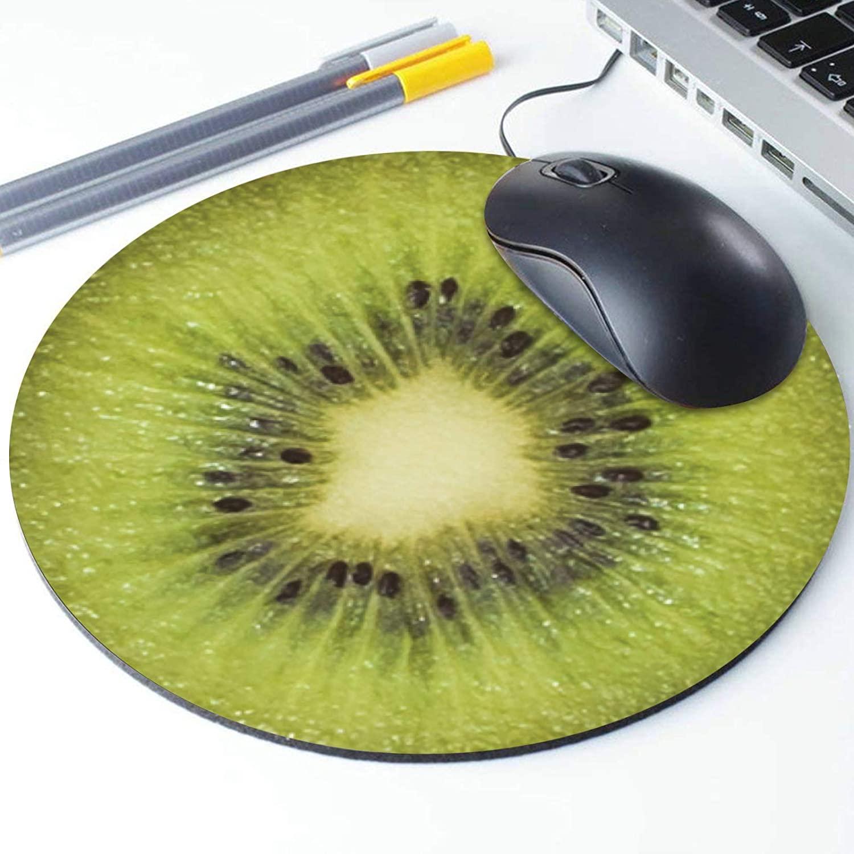 Kiwi Slice Mouse Pad, Tropical Vegan Kiwi Fruit Round Ergonomic Mouse Pad Non-Slip Rubber Material for Office Desk Gaming Home Space Decor - 220mm Diameter