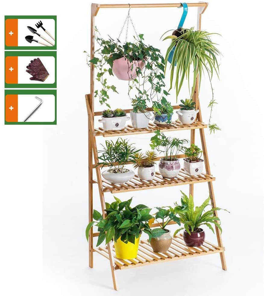 3-Tier Hanging Plant Stand Planter Shelves Flower Pot Organizer Storage Rack Folding Display Shelving Plants Shelf Unit Holder,3 Kinds of Tools Such as Gloves are Included