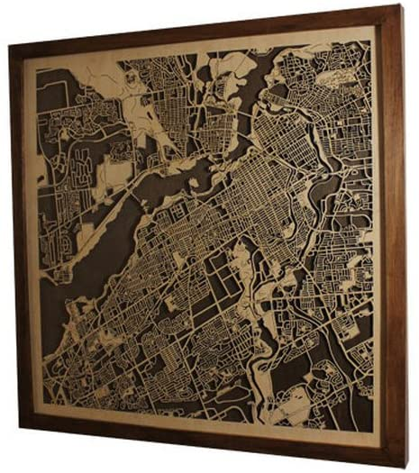 Framed Wooden Map of Ottawa Canada Decor Home Office Town Picture Laser Cut Wall Map Art Wood Handmade Dark Color 50x50 cm (20x20)
