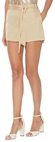 Women's Vince Camuto Tie Waist Liquid Satin Shorts Beige- 8